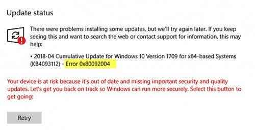 windows 7 update error 80092004