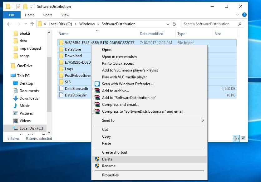 Resetting the windows update component