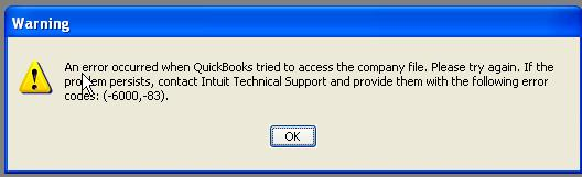 Quickbooks Error Code 6000 83