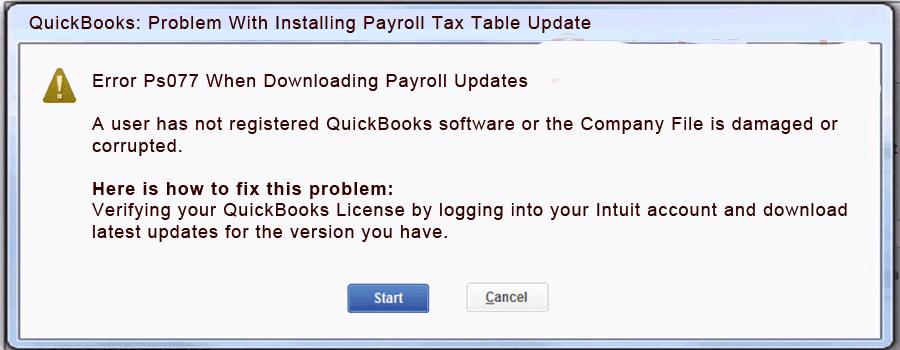 Quickbooks Error Ps077