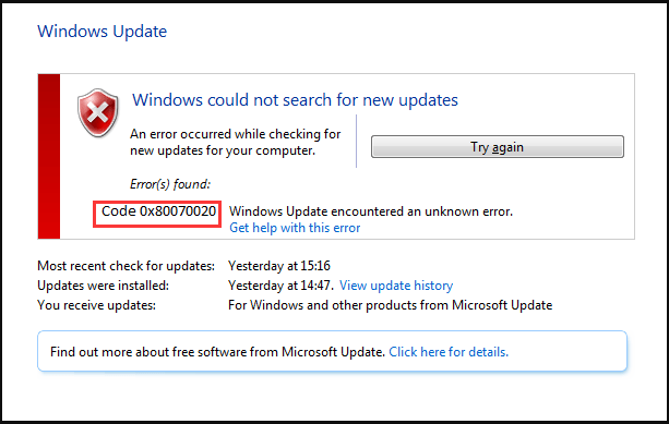 Windows update error 0x80070020