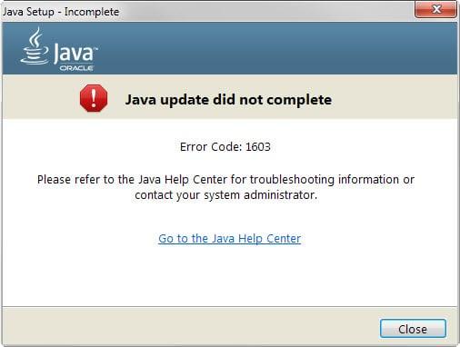 Error Code 1603, Java update Did not completed
