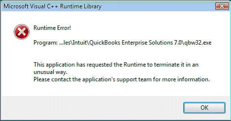 Quickbooks runtime error message