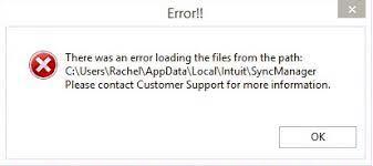 QuickBooks Sync Manager Error Message