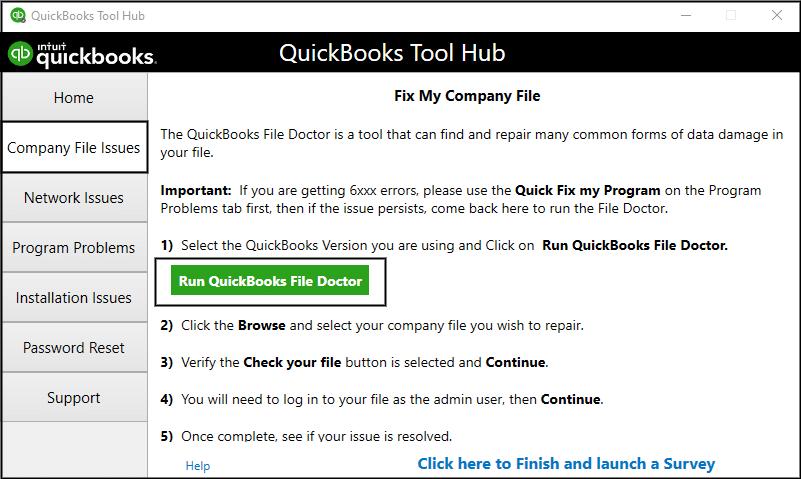 QuickBooks File Doctor Use