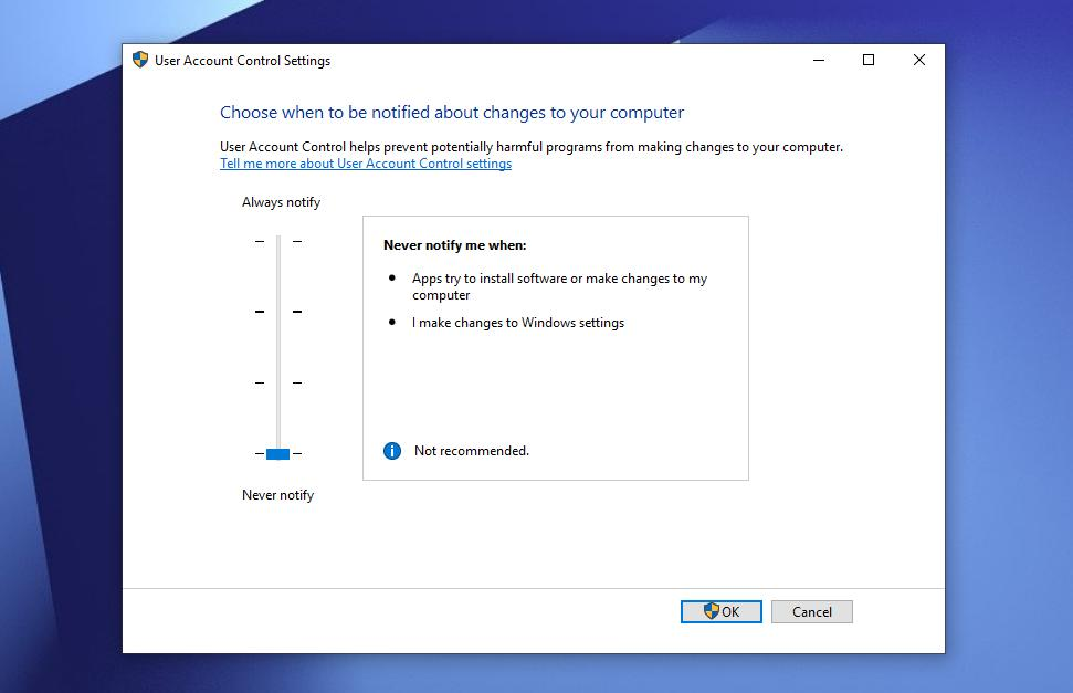Disable The Windows User Account Control (UAC)