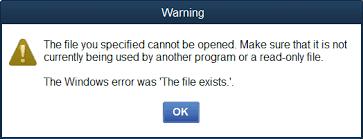 QuickBooks Error The File Exists Message