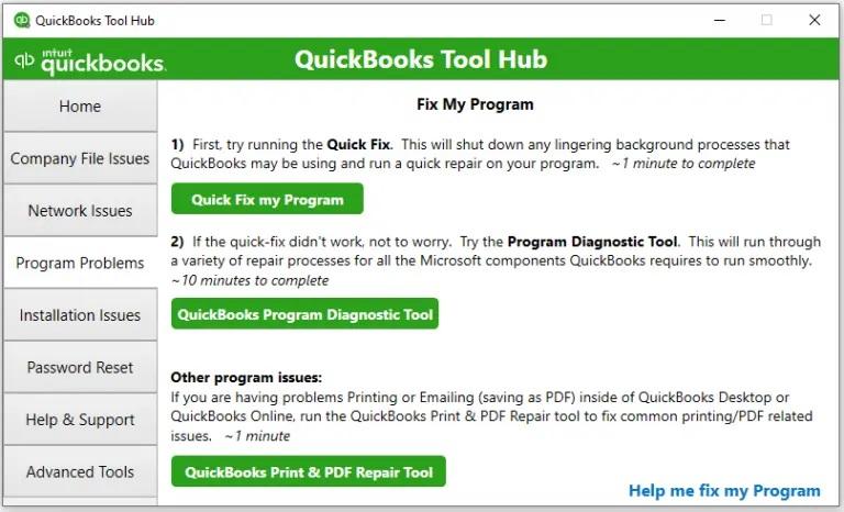 Quickbooks Program Diagnostic Tool
