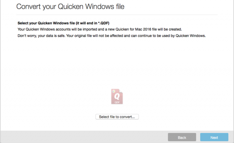 Convert Quicken files to QB using Quicken Converter