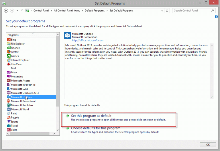 Setting Outlook as a Default Mail Application