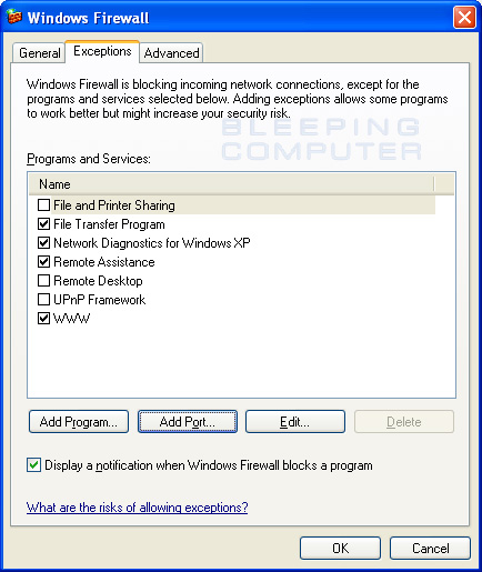 Firewall Configuration Exceptions