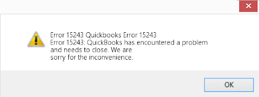 QuickBooks Update Error 15243 Message