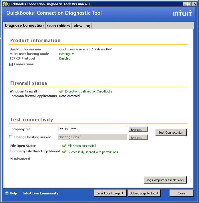 QuickBooks Connection Diagnostic Tool