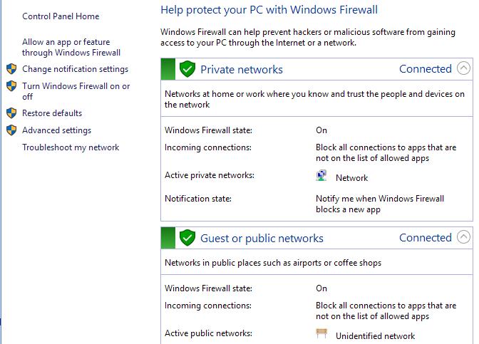 Check the Firewall Setup