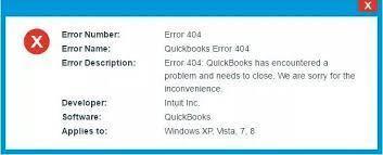 Quickbooks error 404 message