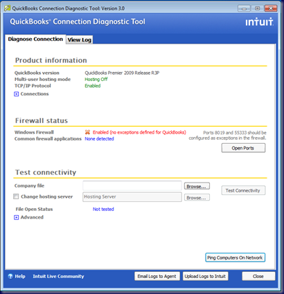 Diagnose ConnectionTab