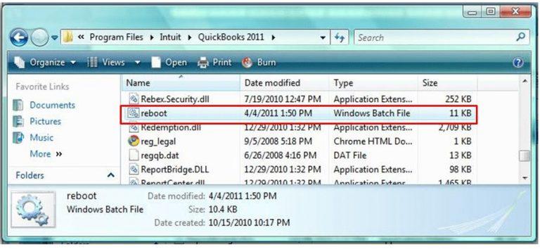 Reboot.bat File Use